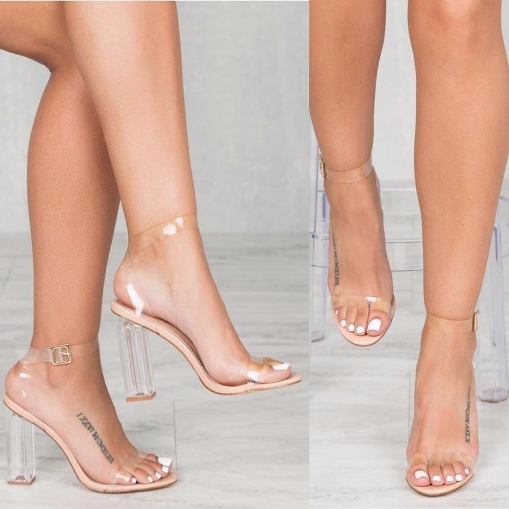 Details about  /Ladies Perspex Platform Transparent Women Super High Heels Sandals Slipper Shoes