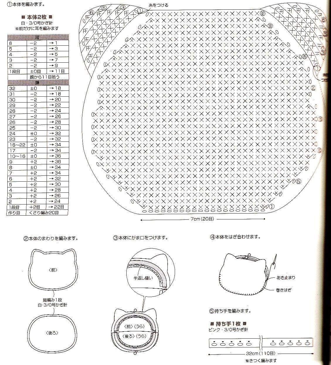 kitty+molde+carterita+crochet.jpg (1129×1246) | Patrones de ...