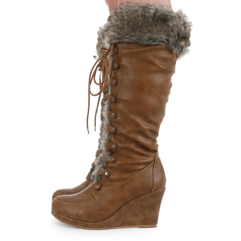 Details about LADIES CASUAL KNEE HIGH ZIP UP FAUX FUR TRIM WEDGE ...