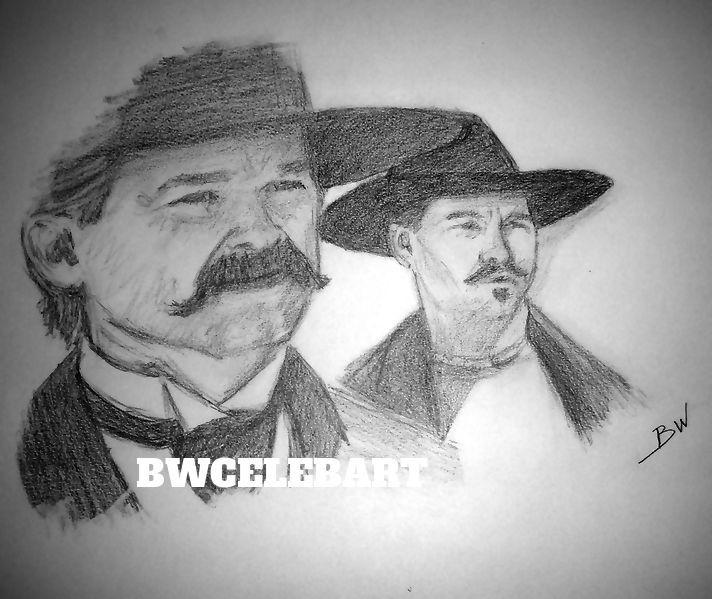 Tombstone Original Pencil Drawing Doc Holliday Val Kilmer