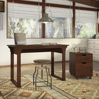 Bush Furniture Mission Creek Collection Antique Cherry 48 Inch Writing Desk  With 2 Drawer