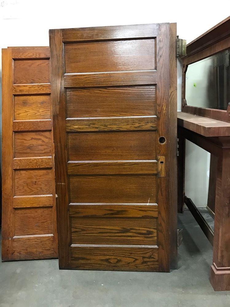 Antique Oak 5 Panel Door School House 36 X84 X1 75 Several Available How To Antique Wood Antiques Wood Doors