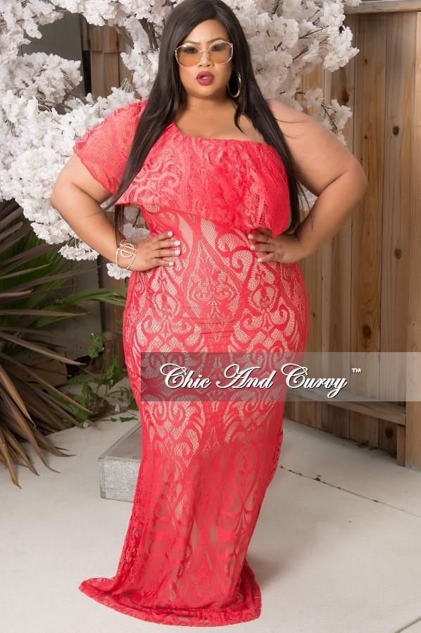 df58fe9be18 Plus Size Womens Clothing Affordable Code  1348024079. Final Sale Plus Size  Lace Gown with One Sleeve in Coral