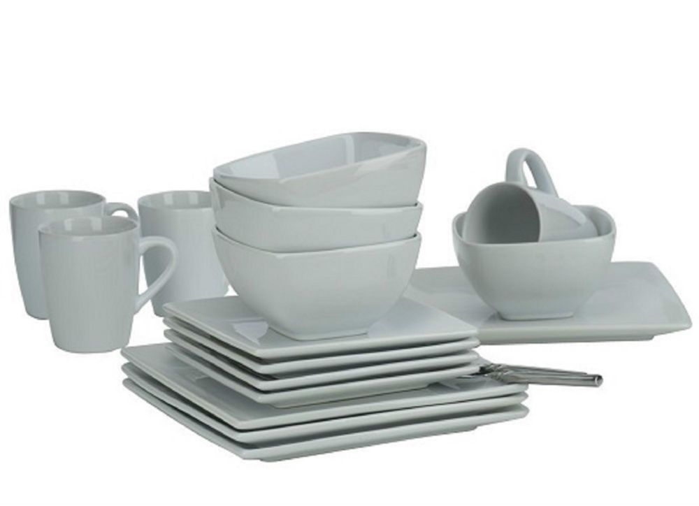 Ethos Diffusion White Dinner Set Square Plates Bowls Mugs Cups New  Dinnerware
