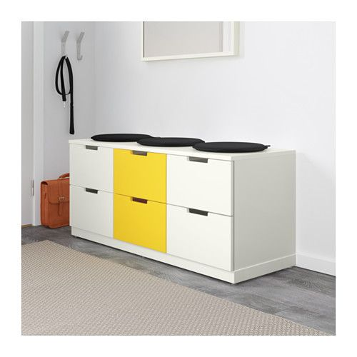 nordli commode 6 tiroirs blanc jaune ikea entr e pinterest commodes tiroir et ikea. Black Bedroom Furniture Sets. Home Design Ideas