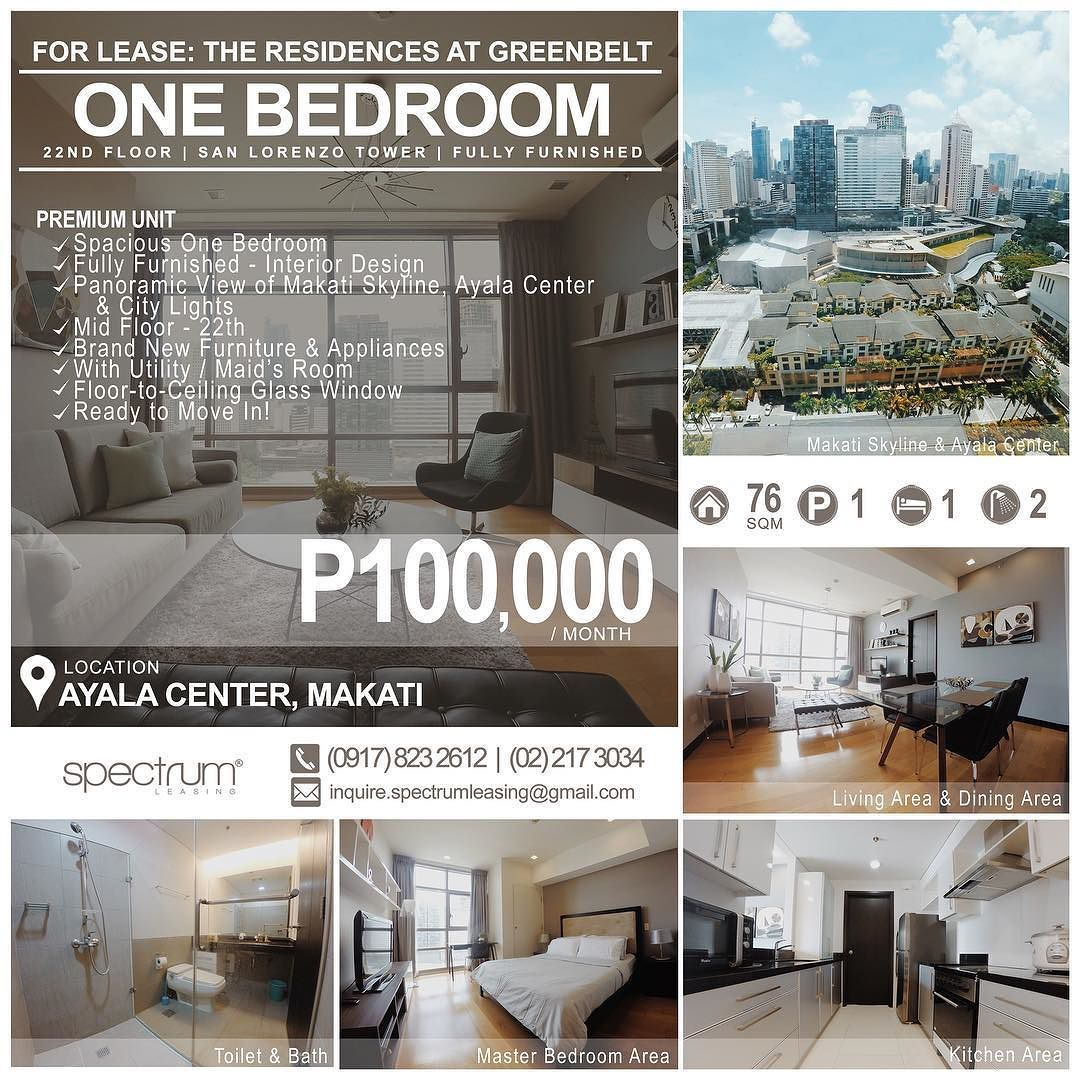 FOR LEASE / RENT: ONE BEDROOM Location: 22th Floor San