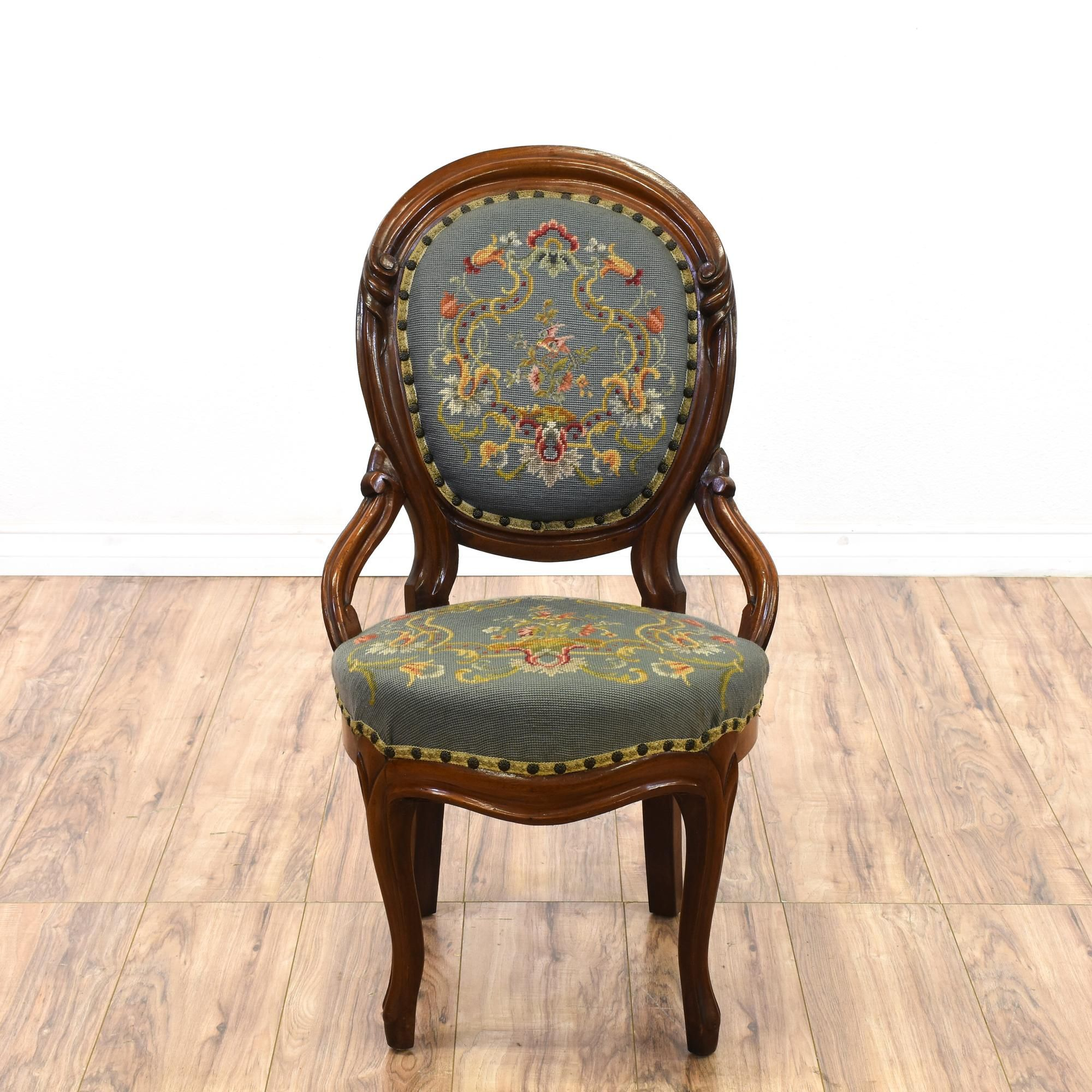 This Needlepoint Chair Is Featured In A Solid Wood With A Glossy Walnut  Finish. This Victorian Style Accent Chair Has Cadet Blue Upholstery W/  Beautiful ...