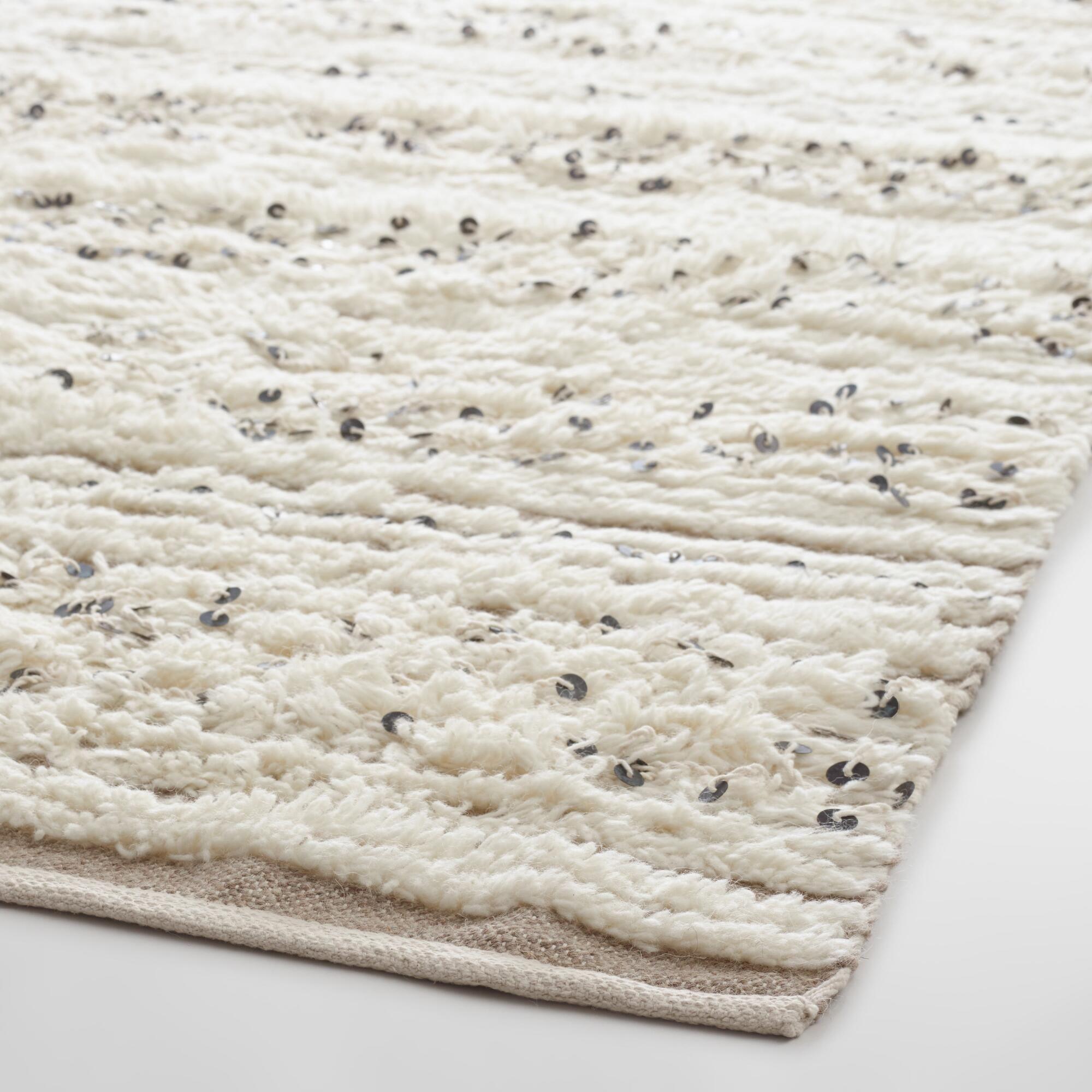 Ivory Moroccan Style Wedding Blanket Wool Area Rug $200