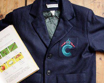 39fcec3088 Cacharel Kids Wool Coat, Unisex School Uniform Vintage Blazer, Navy Blue  Preppy Coat, for 6 years Old