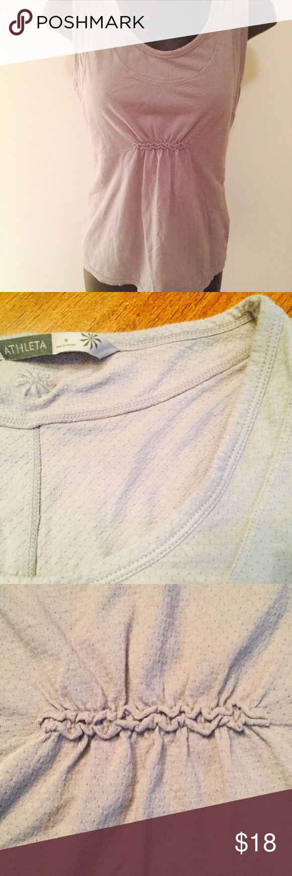 Athleta Light Grey Tank / Size Medium Athleta Tank/ Light Grey/ Size Medium/ Flattering Ruching right under chest, gives you room in the tummy. In Great Used Condition Athleta Tops Tank Tops