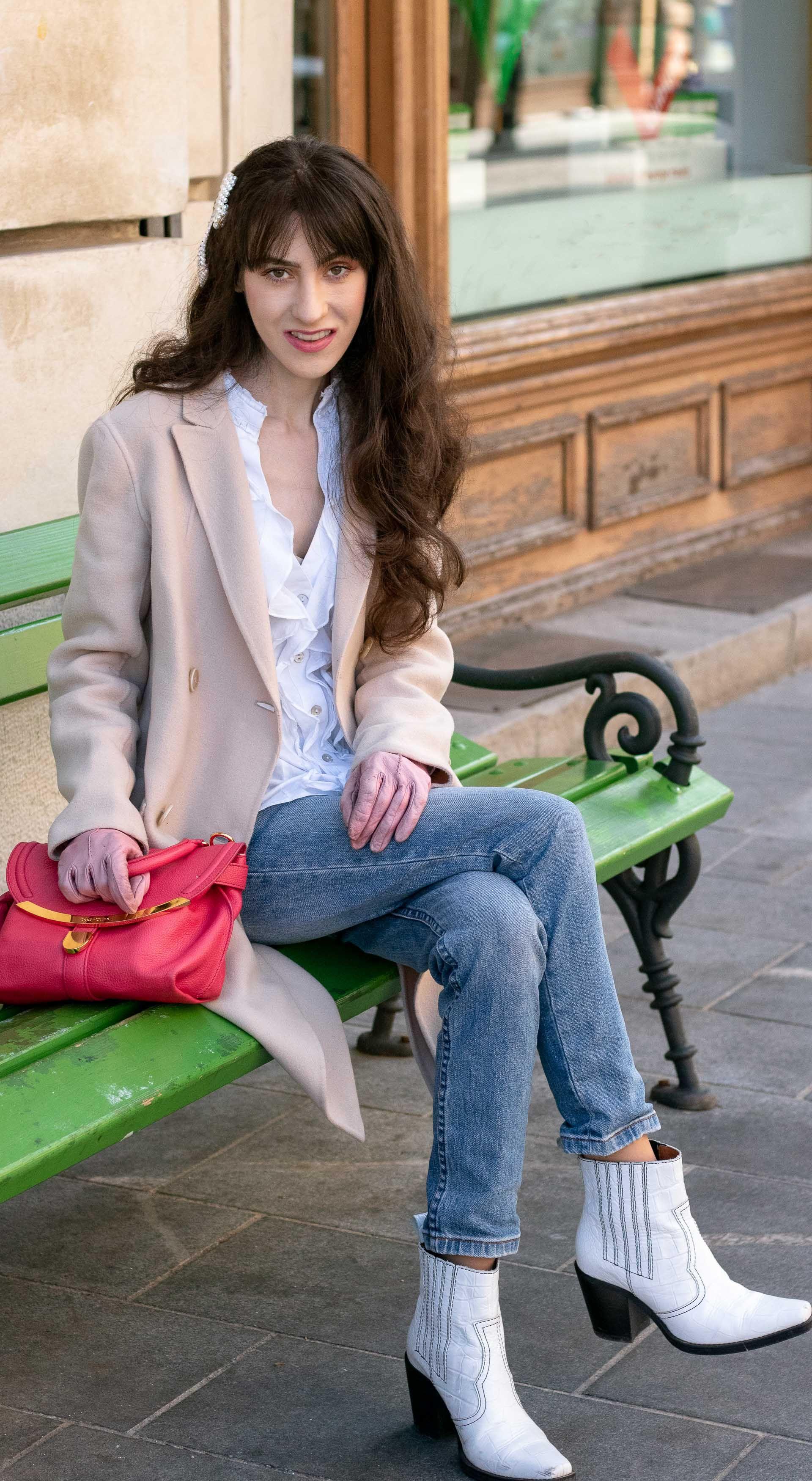 eeb1a3c8 Must follow Slovenian Fashion Blogger Veronika Lipar of Brunette from Wall  Street wearing white cowboy Ganni