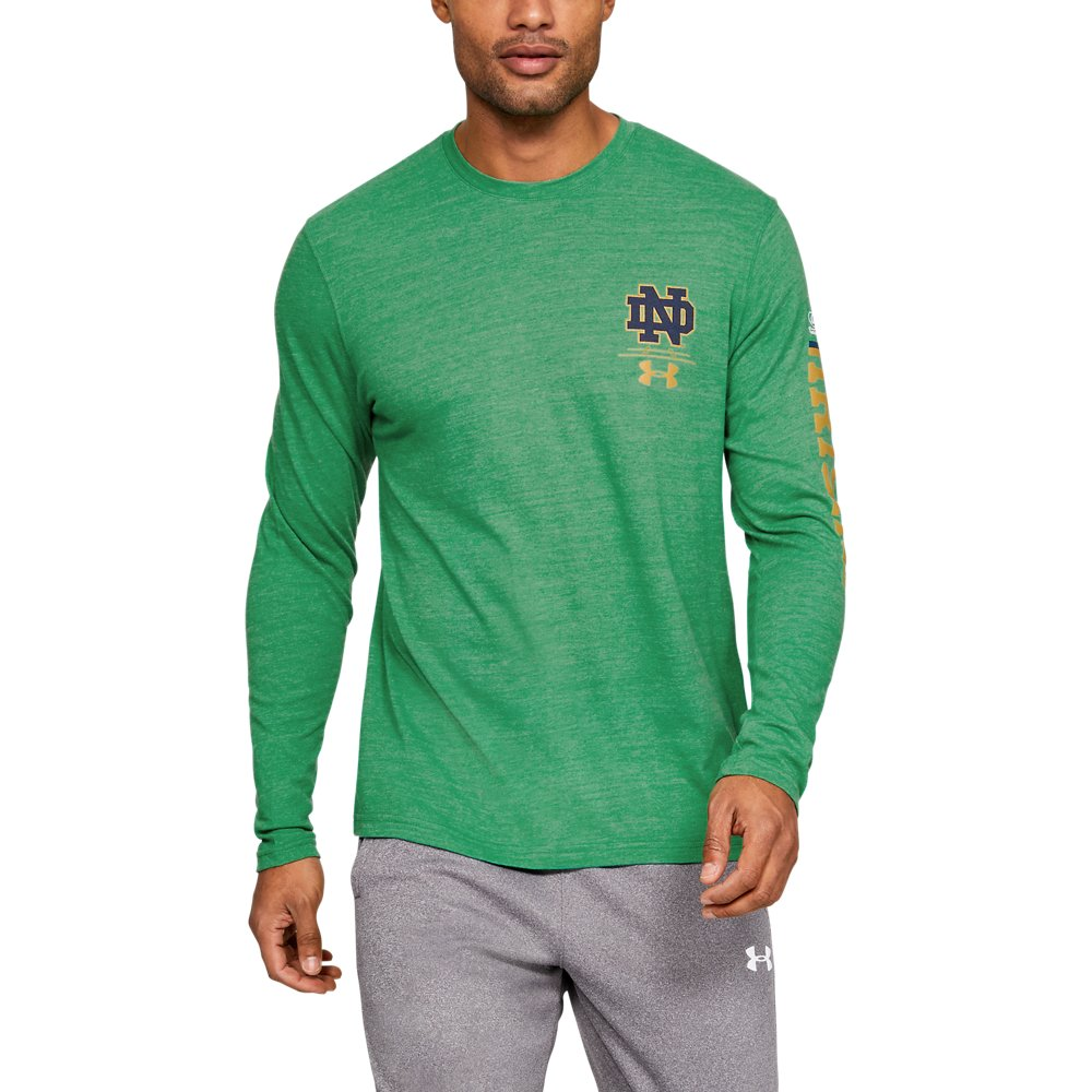 9597f6d9dd Men's Notre Dame UA Triblend Irish Wear Green Long Sleeve | Under ...