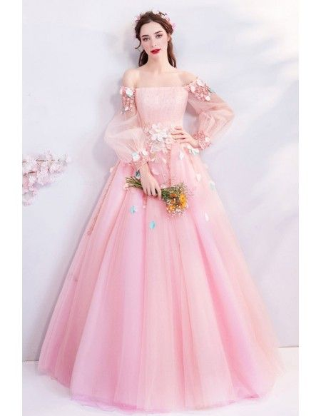 0822ec77c2292 Fairy Pink Butterfly Off Shoulder Poofy Prom Dress With Long Sleeves  Wholesale #T69173 - GemGrace.com in 2019 | Dresses | Poofy prom dresses, Wedding  dress ...