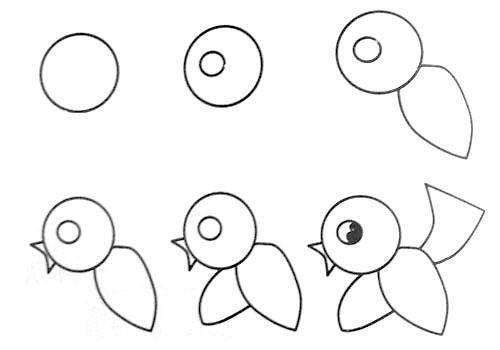 Vogel Tekenen Met Kleuters Step By Step Drawing 1 2 3
