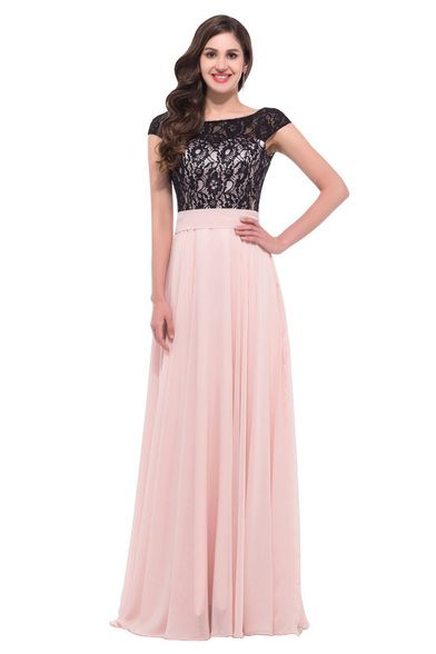 Bianca Lace Chiffon Formal Dress In Black Pink Formal Dress Stores