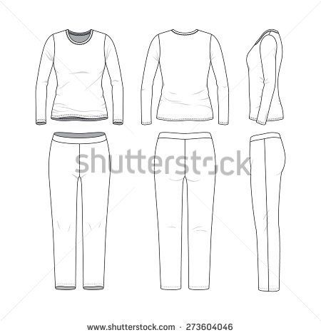 Front, back and side views of women\u0027s clothing set Blank templates - blank fashion design templates