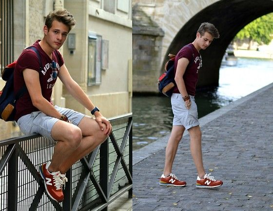 New Balance Sneakers, H Grey And White Short, Abercrombie  Bordeaux Tee
