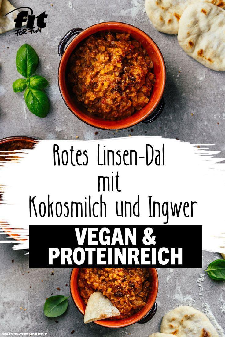 Rezept: Rotes Linsen-Dal mit Kokosmilch und Ingwer #veganerezepte