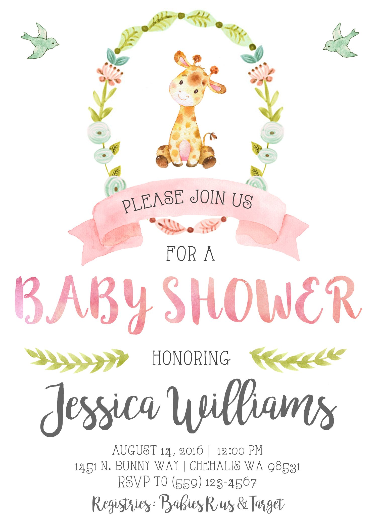 Giraffe Baby Shower Invitation Invite Pastel Watercolor Pink Shabby
