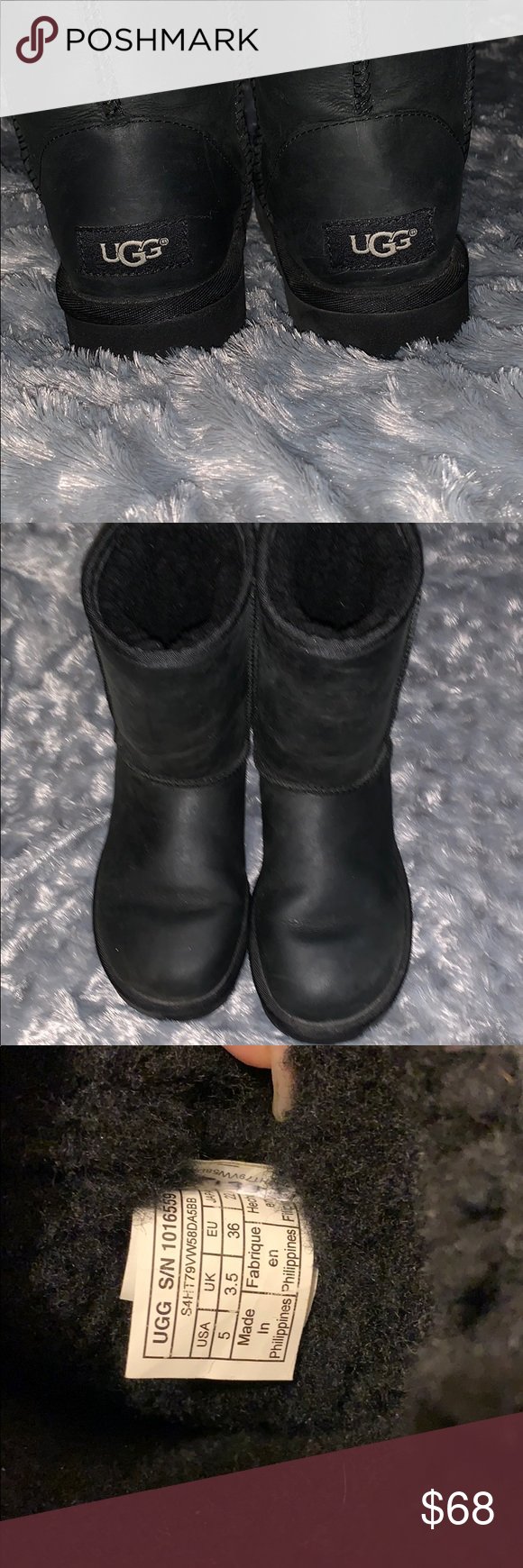 Black Leather UGG boots Girls 5 Classic short black leather gently worn UGG boots girls size 5 UGG Shoes #uggbootsoutfitblackgirl