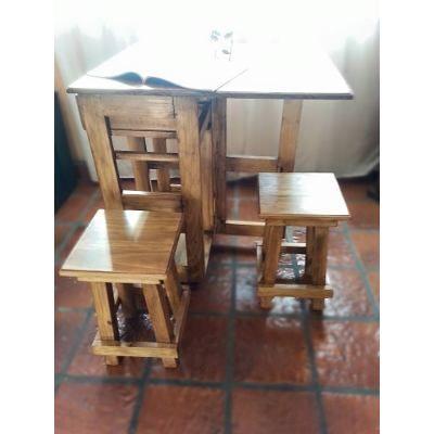 Mesa Multifuncion Auxiliar Cocina Plegable C/ Dos Banquetas ...