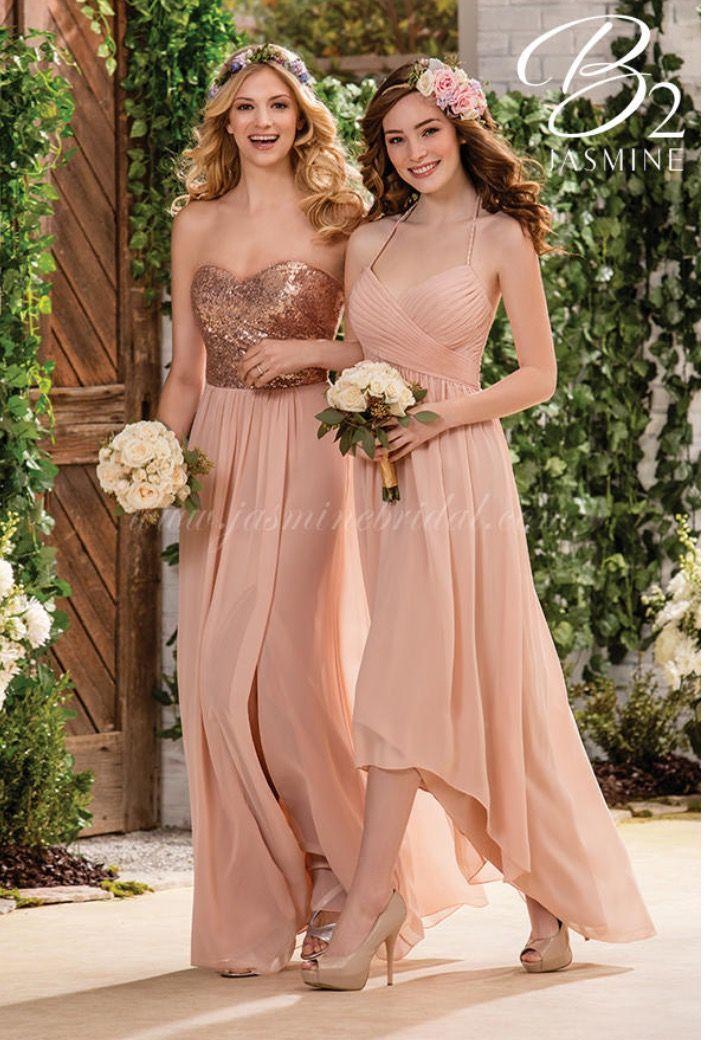 Beautiful Bridesmaid Dresses Same Color Scheme Diffe Love It B2 Bridesmaids By Jasmine