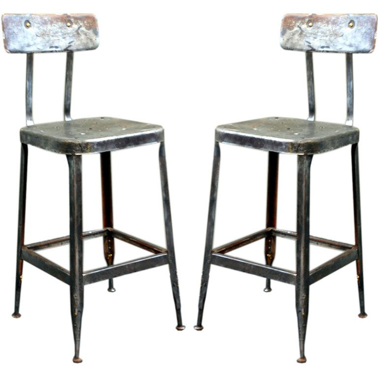 Pair Of Adjustable Industrial Bar Stools Industrial Bar
