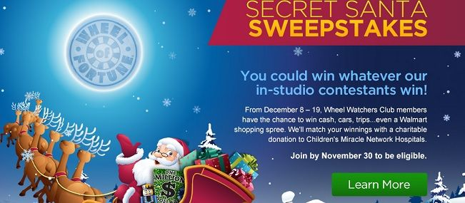 Enter the Wheel of Fortune Secret Santa Sweepstakes and win cash ...