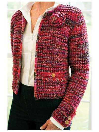 Perfect for any occasion, from jeans to dressy!   Knit with 1050 (1225, 1400, 1575, 1750) yds of two fingering-weight yarns (Yarn A & B) and one lace-weight yarn (Yarn C) held together throughout. Knit at a gauge of 18 sts per 4 using U.S. size 8/5mm needles.  Approximate finished measurements:  Bust: 34 -50  S (M, L, XL, 2XL) #tejidos