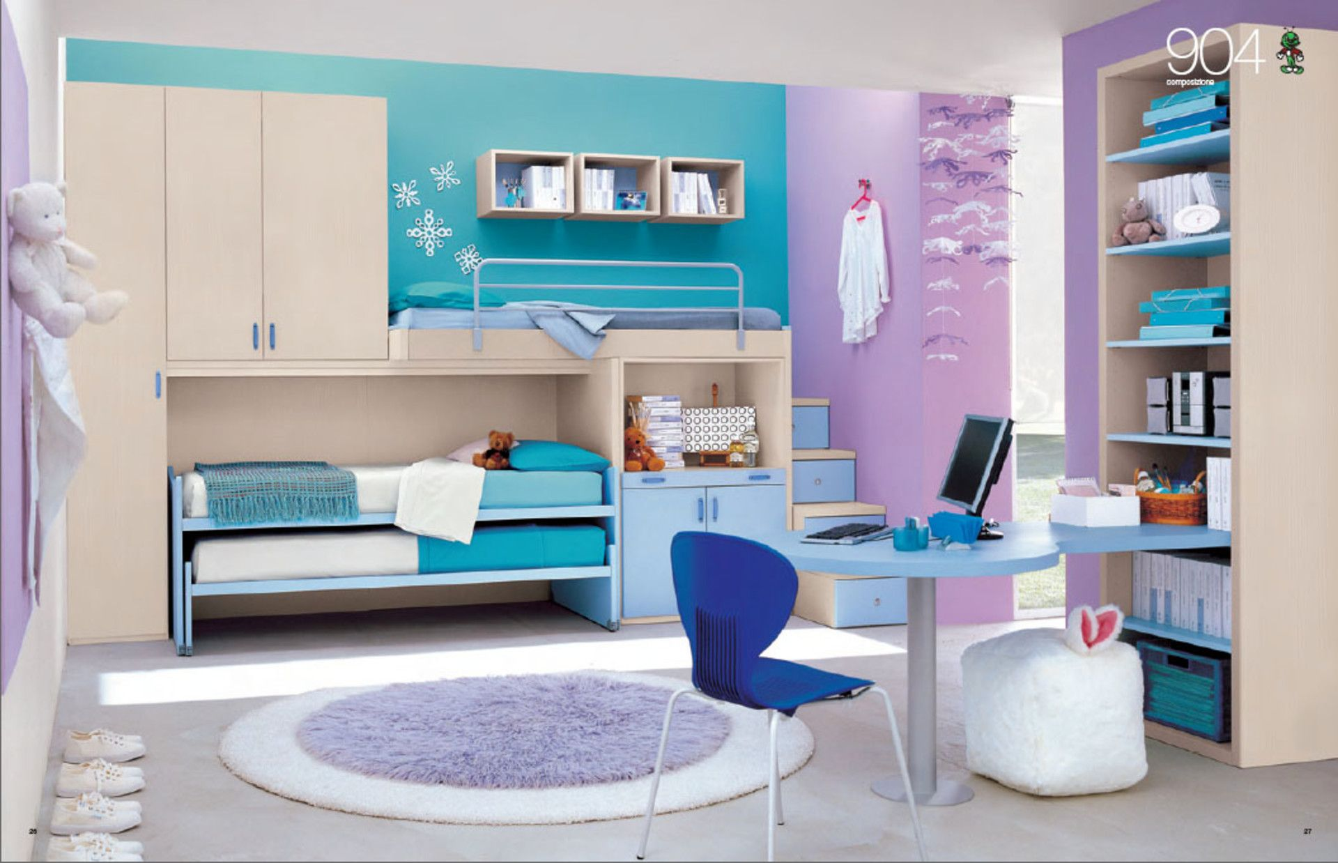 Exquisite Purple And Blue Themed Bedroom With Adjoining Wardrobe