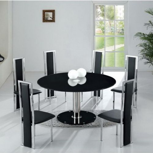 Modern Round Dining Table For 6 Black Chairs Glass Round Dining