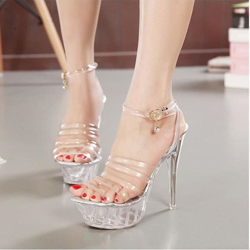 2017 Erotic Pumps Women High Heel Sandals Sexy Crystal Transparent Women  Shoes open toe High Platform caaa0439059e