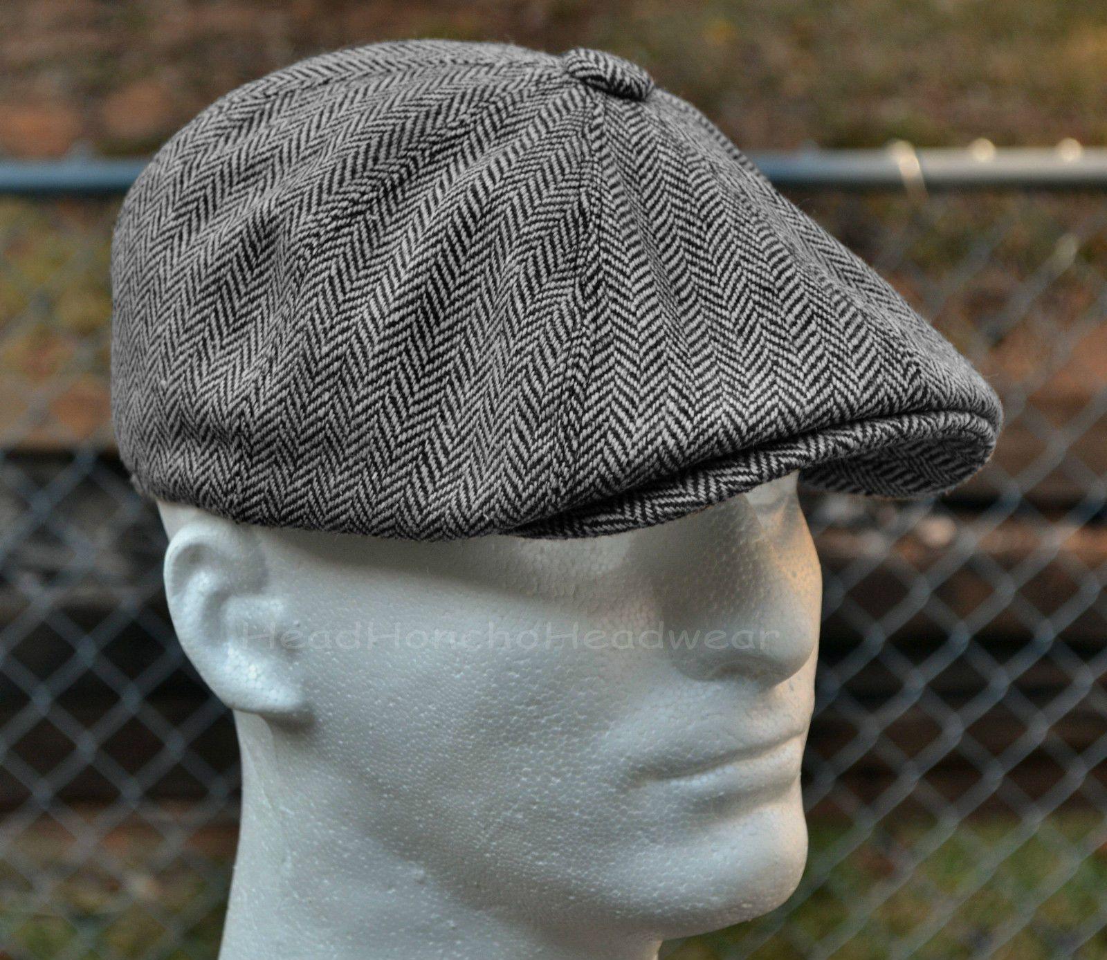 68b8fb9f2a3 Herringbone Tweed Gatsbysboy Cap Men Wool Ivy Hat Golf Driving Flat Cabbie