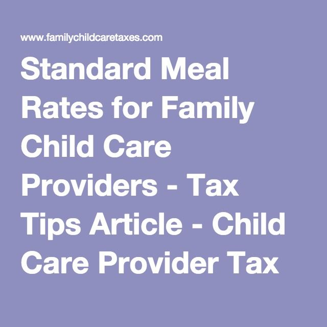 Standard Meal Rates for Family Child Care Providers - Tax Tips - business expense spreadsheet for taxes