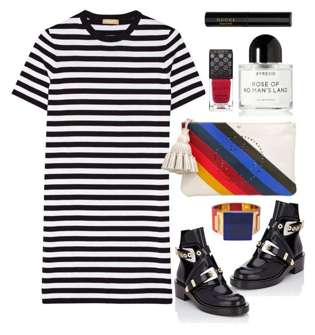 """""""Michael Kors stripped jersey dress"""" by thestyleartisan ❤ liked on Polyvore featuring Michael Kors, Anya Hindmarch, Balenciaga, Byredo, Gucci, Marni, women's clothing, women's fashion, women and female"""