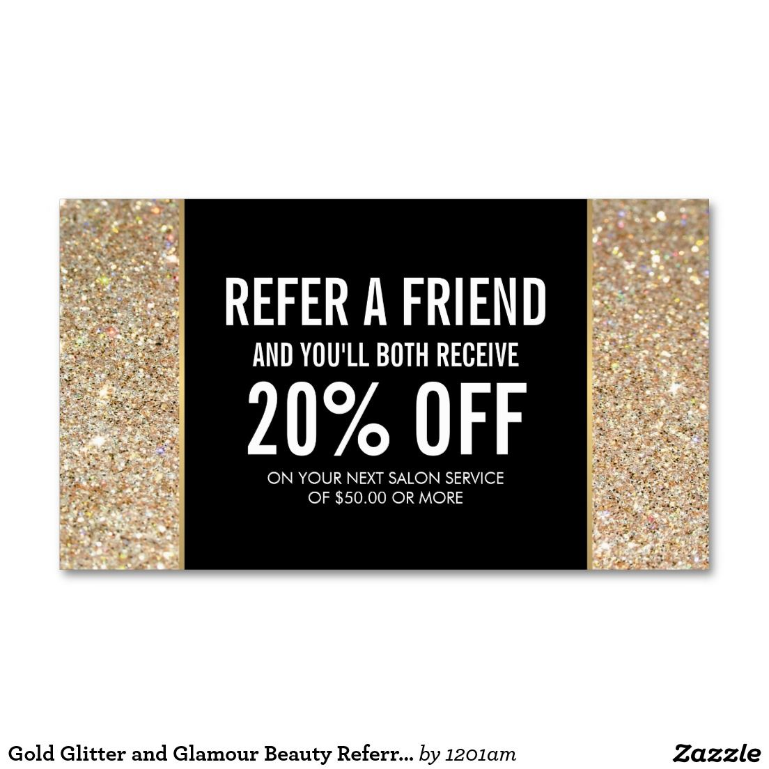 Gold Glitter and Glamour Beauty Referral Card | Pinterest | Glamour ...