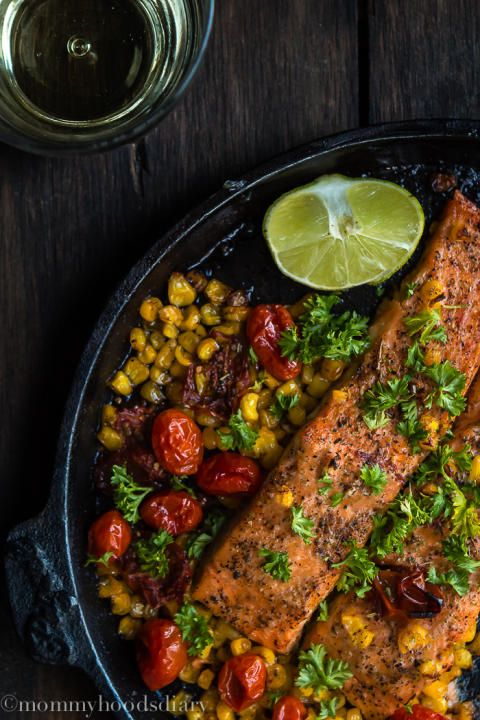 Salmon with Roasted Tomatoes and Corn-5