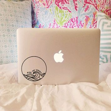 Ride The Waves Vinyl Decal Laptop Decal Car Decal Macbook Decal Laptop Sticker Surfer Decal Surf Decal Laptop Decal Laptop Stickers Macbook Decal