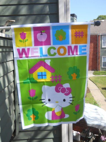 Hello Kitty Welcome Playing Outside House Flag Jetmax Http Www Amazon Com Dp B009r3ozzm Ref Cm Sw R Hello Kitty House House Flags Hello Kitty Gifts