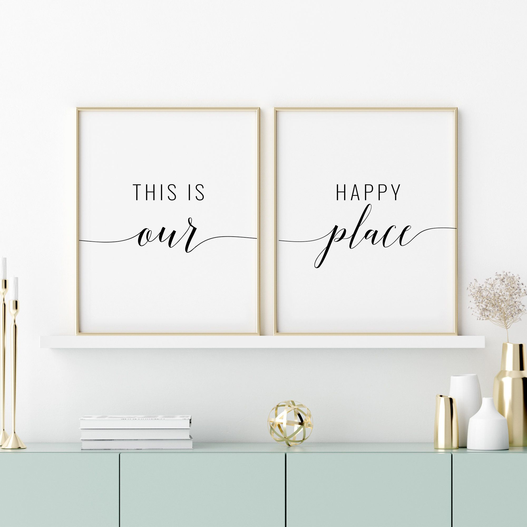 This Is Our Happy Place Printable Art Set Of 2 Prints Living Room Quote Prints Living Room Printable Wall Art Triptych Instant Download In 2020 Printable Art Set Free Printable Wall