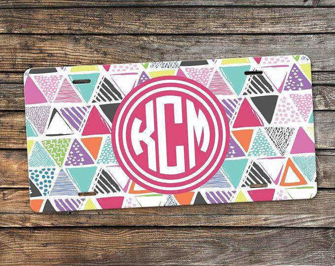 Colorful Monogram License Plate - Personalized Car Tag - Monogram ...
