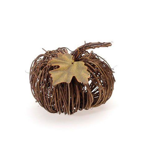 Bulk Buy Darice DIY Crafts Natural Twig Pumpkin w/Metal Leaf 4 - bulk halloween decorations
