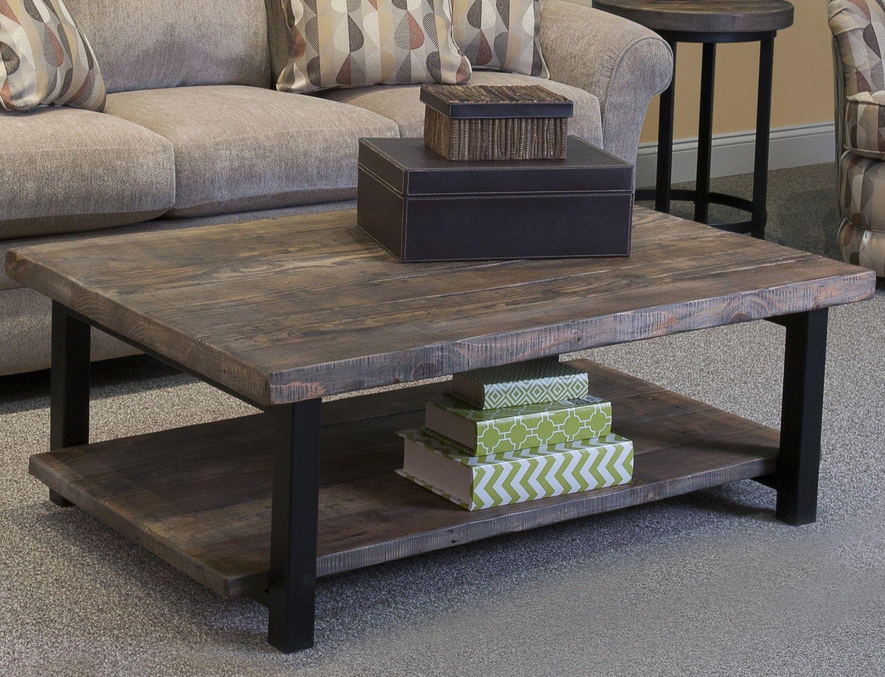 "Somers 48""W Reclaimed Wood Metal Coffee Table"