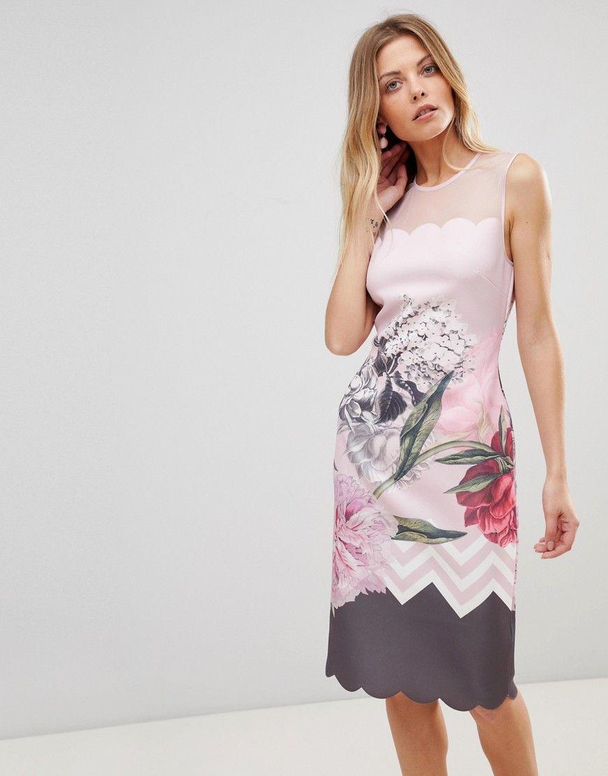 Ted Baker - Arionah - Figurbetontes Kleid mit Bogenkanten - Rosa ...