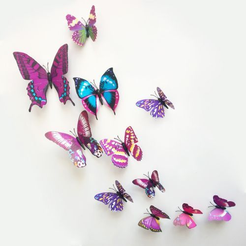 12pcs/set 3D wall stickers butterfly fridge magnet wedding photography props art design decal wall home decoration decals-in Wall Stickers from Home & Garden on Aliexpress.com | Alibaba Group