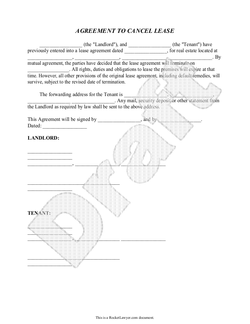 Cancel Lease Form Letter To Cancel Lease Agreement Sample 31 God
