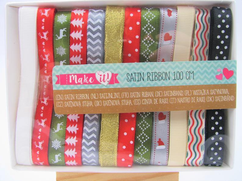 Set of 12 christmas satin ribbon – 1 meter long – cardmaking – scrapbooking – craft supplies – christmas supplies – art journal – bujo
