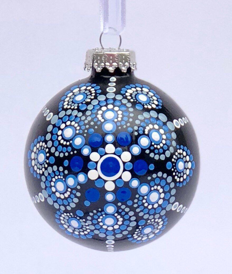 Striking Blue Dot Mandala Snowflake Glass Ball Ornament Etsy Glass Ball Ornaments Painted Christmas Ornaments Christmas Mandala