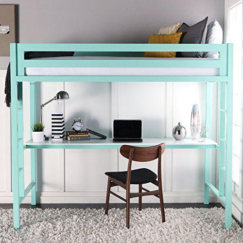 Loft Beds With Desk Amazon Com We Furniture Premium Twin Metal Loft Bed With Bunk Bed With Desk Bed With Desk Underneath Twin Loft Bed
