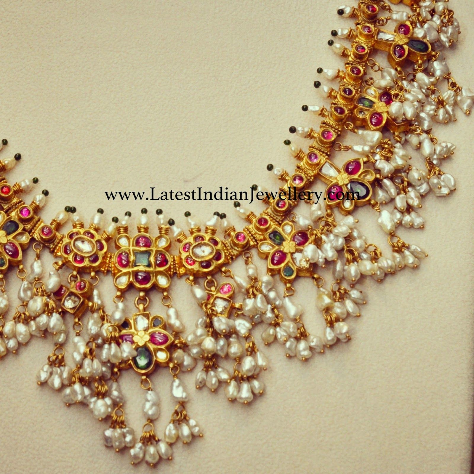 Heavy pearls traditional necklace with kundans traditional pearls